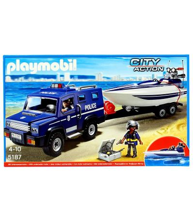 Playmobil-City-Action-Coche-de-Policia-con-Lancha