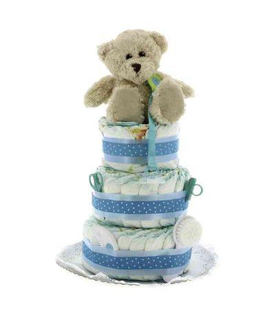 Torta-de-Fraldas-Tres-pisos-Urso-c--acessorio-Azul