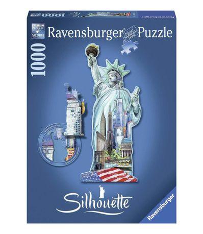 Puzzle-Silueta-1000-piezas-Estatua-de-la-Libertad