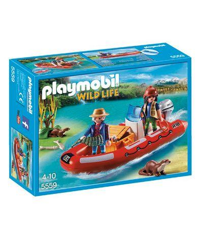 Playmobil-Wild-Life-Bote-Hinchable-con-Exploradores