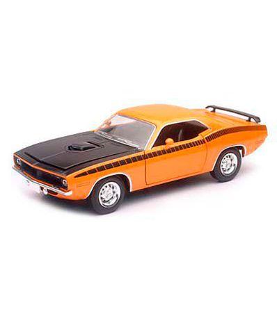 Coche-Miniatura-Plymouth-Clasico-Americano-Naranja-Escala-1-24
