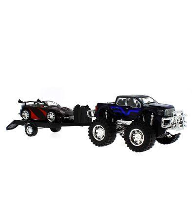 Jeep-de-Juguete-con-Remolque-y-Coche-Descapotable-Negro-y-Rojo