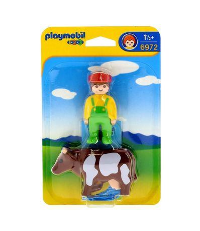 Playmobil-123-Granjero-con-Vaca