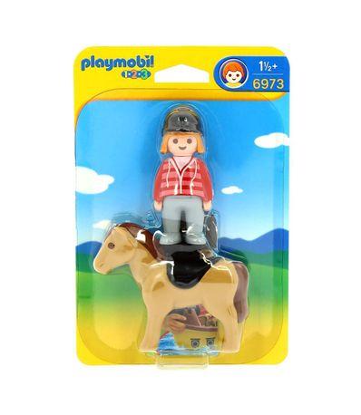 Playmobil-123-Ginete-com-Cavalo