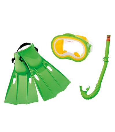 Jogo-verde-do-mergulho-mascara-snorkel-e-nadadeiras