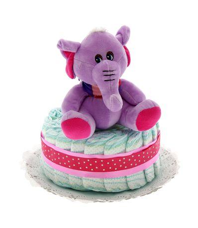 Tarta-de-pañales-1-piso-Elefante-Rosa
