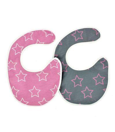 Pack-2-unids-Baberos-Mini-Bebe-Rosa-Estrellas-Blanca