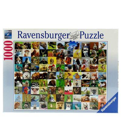 Puzzle-99-Divertidos-Animais-de-1000-Pecas