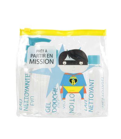 Necessaire-Kit-de-Viage-4-Potes-Super-Nene-Amarelo