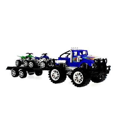 Coche-Crusher-Azul-con-Remolque-y-Quads