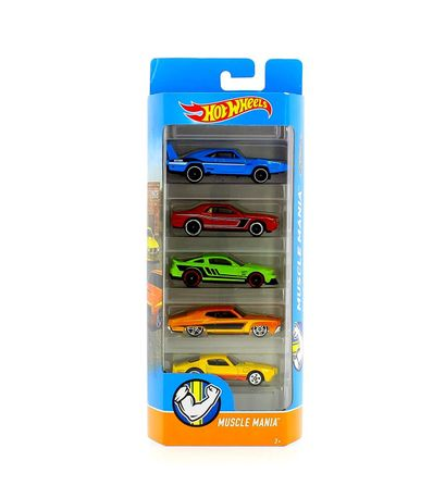 Hot-Wheels-Pack-5-Vehiculos-Muscle-Mania