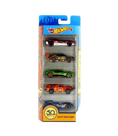 Hot-Wheels-Pack-5-Vehiculos-HW-50th-Track-Stars