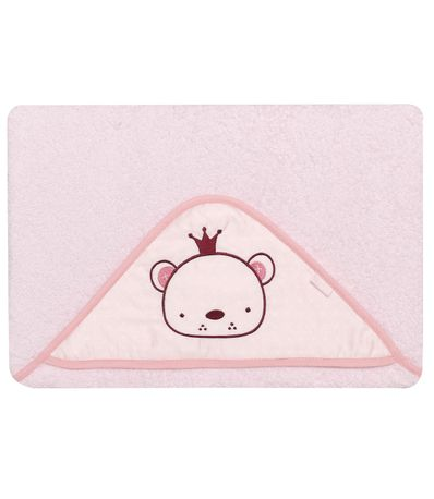 Toalla-bebe-con-capucha-Osito-rosa