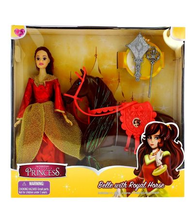 Muñeca-Princesa-Belle-con-Caballo