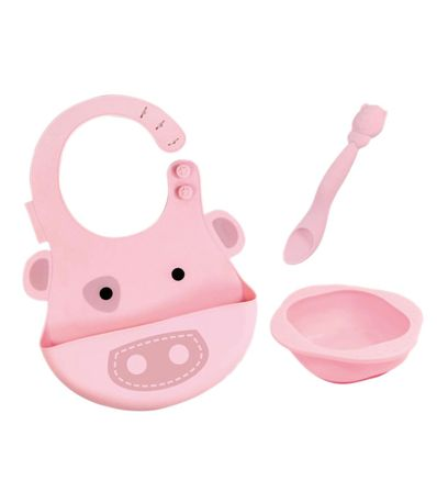 Set-vajilla-silicona-Babero-Bol-Cuchara-Pig