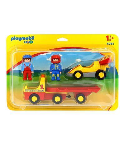 Playmobil-123-Coche-de-Carreras-Con-Transporte