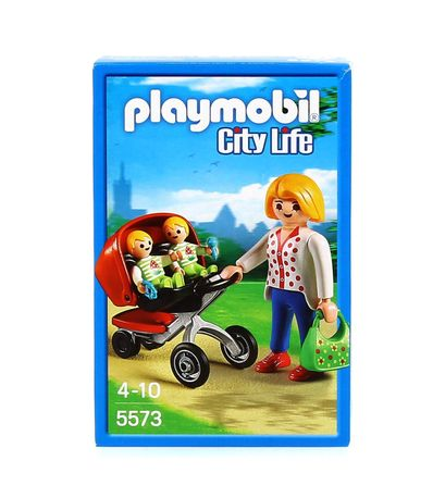 Playmobil-City-Life-Mama-con-Carrito-de-Gemelos