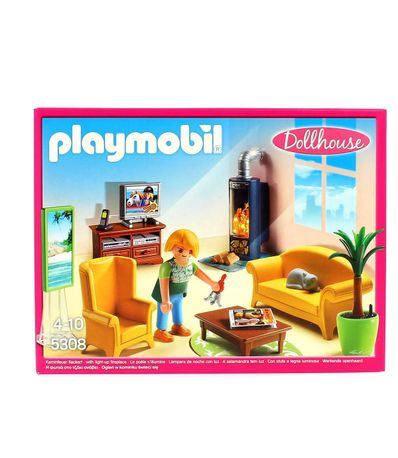 Playmobil-Dollhouse-Sala-de-Estar-con-Fuego