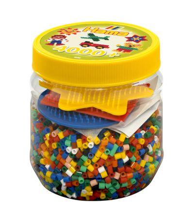 Hama-Beads-Bote-de-4000-con-3-Placas-de-Clavijas