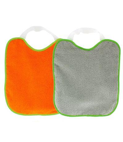 Pack-2-Baberos-rizo-con-goma-cuello-Gris-y-Naranja