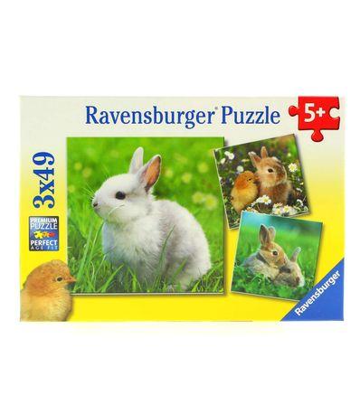 Puzzle-Coelhinhos-Lindos-Pack-3-x-49-Pecas