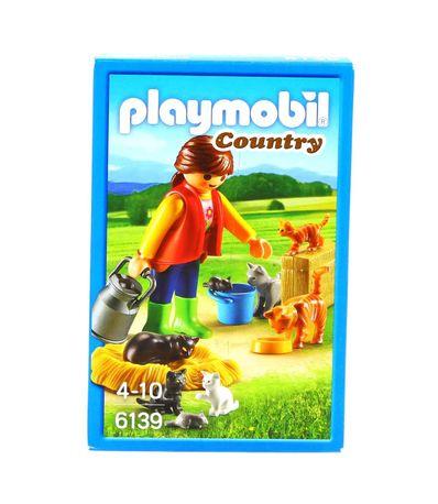 Playmobil-Country-Mulher-com-Familia-de-Gatos