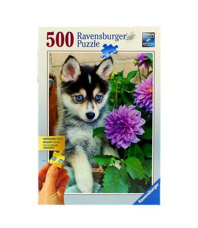 Puzzle-Cachorro-Husky-en-el-Jardin-de-500-Piezas