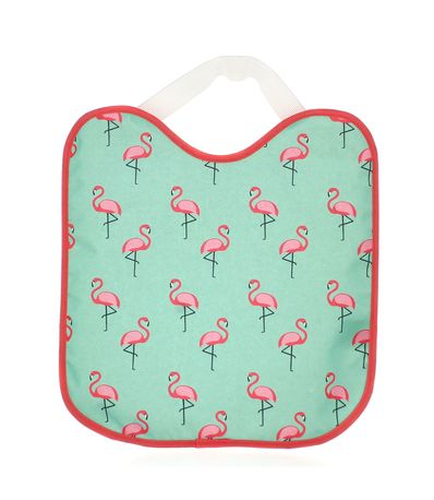 Babete-impermeavel-com-flamingos-de-borracha