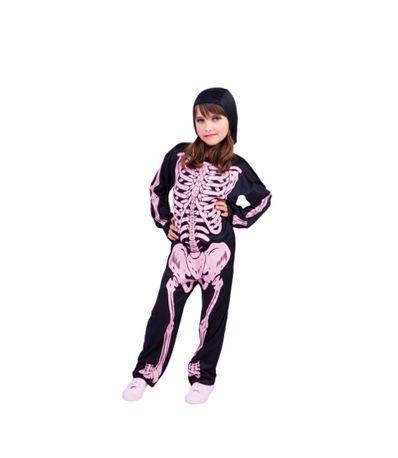 Costume-de-esqueleto-ossos-com-rosas-Tamanho-8-10-anos