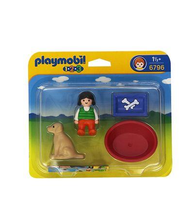 Playmobil-123-petite-Fille-avec-chien