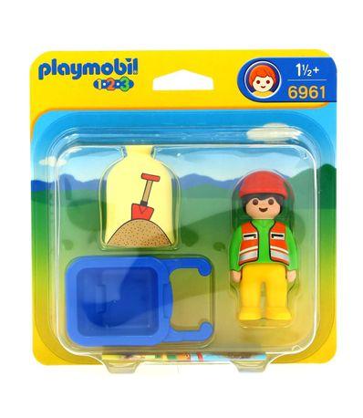 Playmobil-123-Travailleur-avec-brouette
