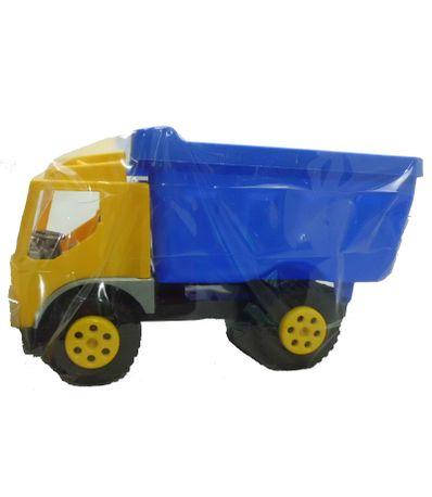 Camion-benne-jaune-et-bleu