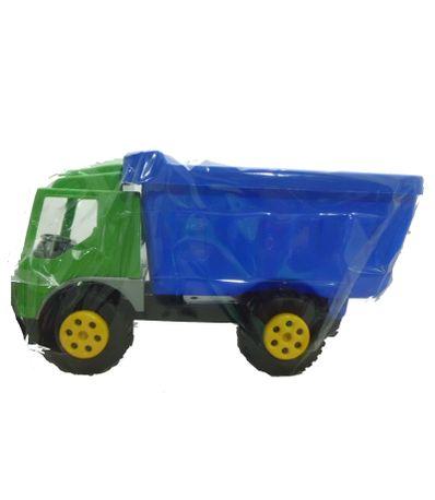Camion-a-benne-basculante-vert-et-bleu