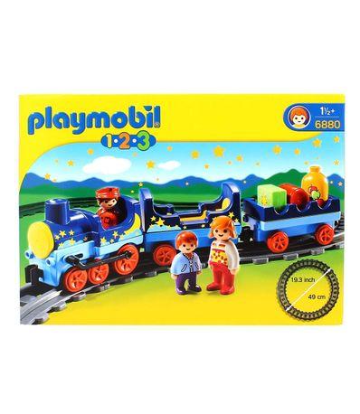 Playmobil-123-Train-avec-passagers-et-rails