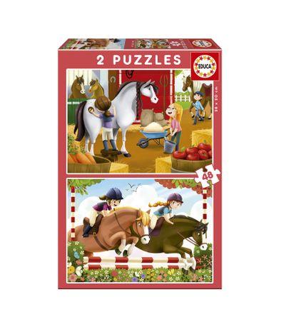 Puzzles-2x48-Pieces-Equitation