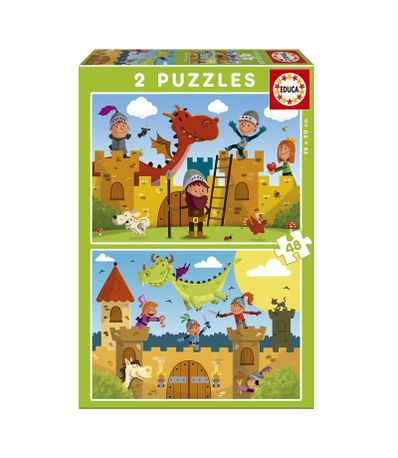 Dragons-et-Chevaliers-Puzzles-2x48-pieces