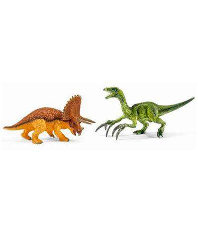 Les-figures-Triceraratops-de-dinosaures-et-Therizinosaurus