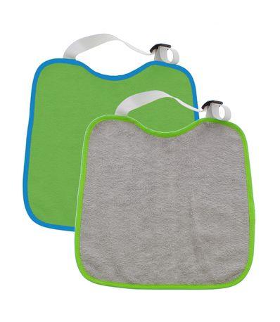 Pack-2-bavoirs-tour-de-cou-elastique-Vert-Gris