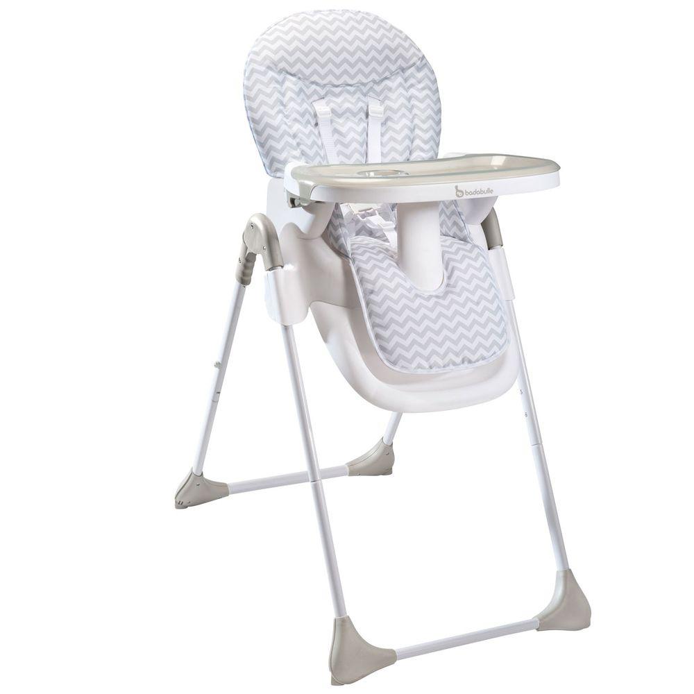 Chaise Haute Blanc Et Gris