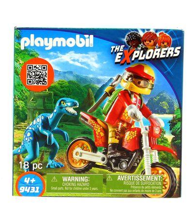 Playmobil-Les-explorateurs-Moto-avec-Velociraptor