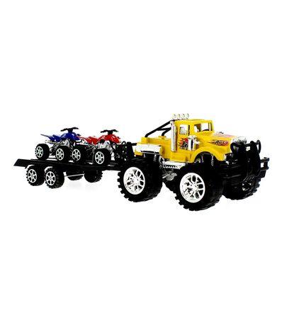 Crusher-voiture-Amarillo-avec-remorque-et-Quads