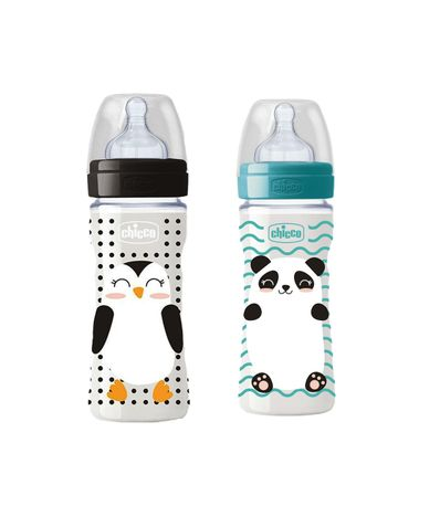 Pack-2-Biberons-Silicone-330-ml-Pingouin-et-Panda