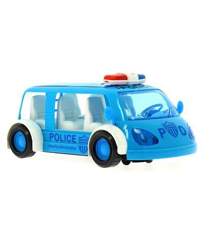 Un-vehicule-de-police-pour-enfants-sauve-des-obstacles-en-bleu