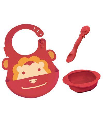 Set-de-vaisselle-en-silicone-Bib---bol---cuillere-Lion