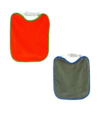 Pack-2-Bavoirs-elastiques-Eponge-orange-gris