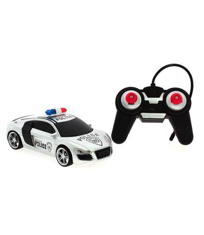 Coche-R-C-Audi-Police-Gris-Escala-1-24