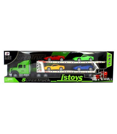 Camion-de-Transporte-Verde-con-Coches