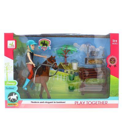 Playset-Muñeco-con-Caballo-y-Recinto