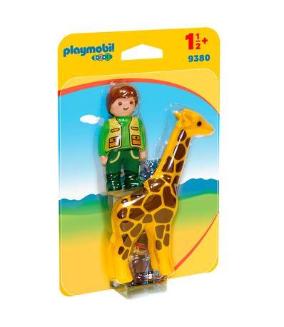 Playmobil-123-Cuidadora-con-Jirafa