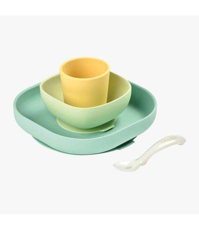 Vajilla-4-Piezas-Silicona-Verde